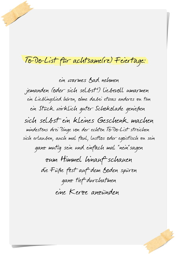 Achtsame Feiertage: To-Do-List